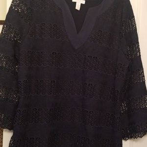 Charter Club Sz L lace tunic with peek-a-boo arms